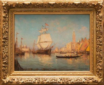 Vincent MANAGO (1880-1936) Venise. Huile sur toile. Signée en bas à droite. 50 x...