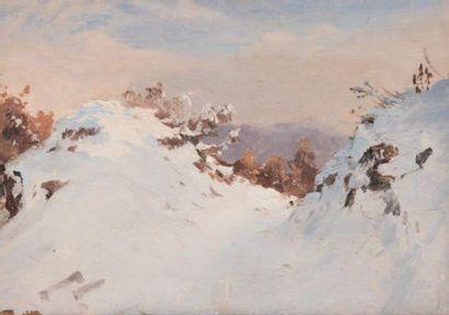 Edme-Adolphe FONTAINE (1814-1883) Paysage de montagne sous la neige à Satory près...