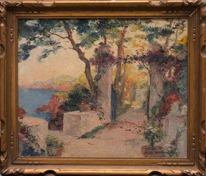 William Adolphe LAMBRECHT (1876-1940) Vue des jardins de la villa Fontana Rosa. Suite...