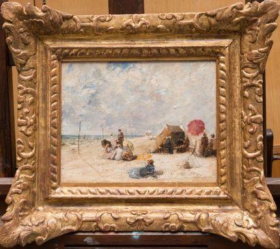 Max Friedrich RABES (1868-1944) Scène galante à la plage Huile sur carton. Signée...