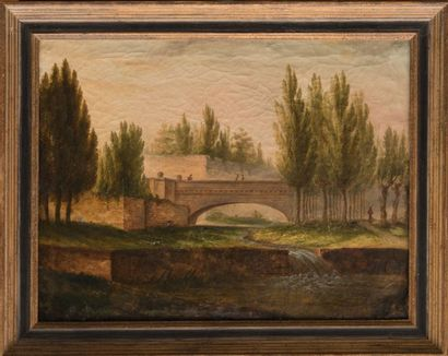 Ecole provençale de la fin du XVIIIème siècle Le pont. Huile sur toile. 42,5 x 53...