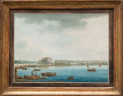 Antoine I ROUX (1765-1835) Vue de château vert près Marseille. Aquarelle. Signée,...