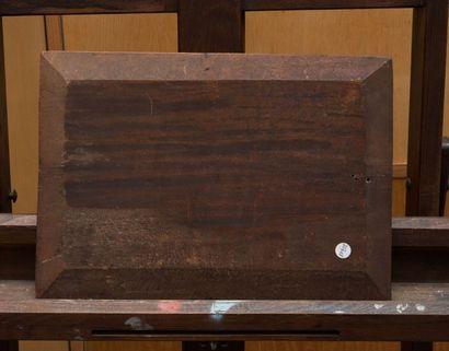 François SIMON (1818-1896) Vache dans l'étable. Huile sur panneau. Signée en bas...