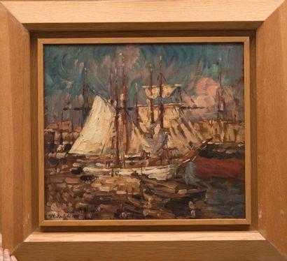 Horace RICHEBE (1871-1964) Le port de Marseille. Huile sur panneau. Signée en bas...