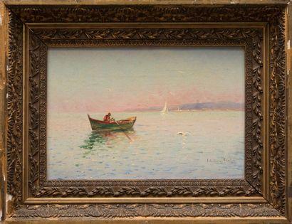 Louis NATTERO (1870-1915) Barque dans la rade de Toulon. Huile sur toile. Signée...