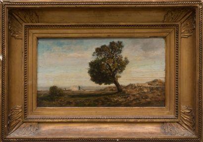 Pierre GRIVOLAS (1823-1906) Chasseur et son chien dans la campagne. Huile sur toile....