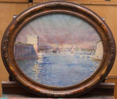 Louis Adolphe GAUSSEN (1871-1954) attribué à L'entrée du port de Marseille. Toile...