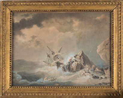 École FRANÇAISE de la fin du XVIIIème siècle Scène de naufrage. Plume et encre noire...