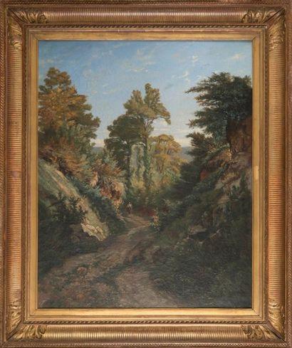 Vincent COURDOUAN (1810-1893) Promenade dans les collines. Huile sur toile. Signée...