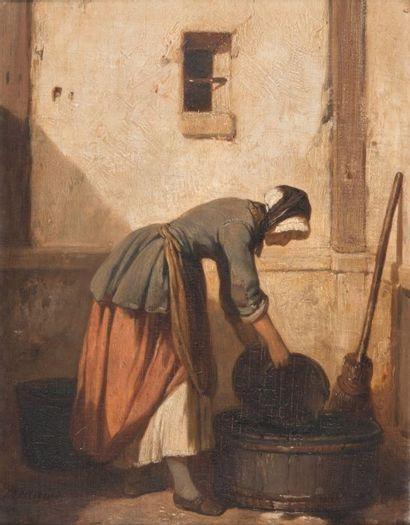 Joseph BEAUME (1796-1885) Le lavoir. Huile sur toile. Signée en bas à gauche. 24...