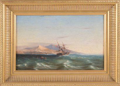 François Pierre BARRY (1813-1905) Navire au large de Marseille. Huile sur panneau....