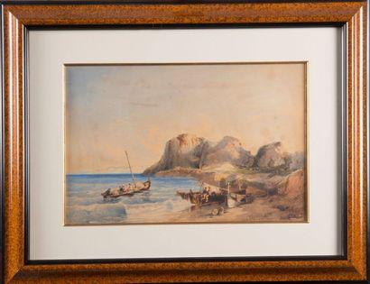 Félix ZIEM (1821-1911) Sortie du port de la Ciotat. 1845. Aquarelle. Signée, titrée...