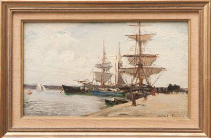 Aimé PONSON (1850-1924) Bassin de la Joliette. Huile sur toile marouflée sur panneau....