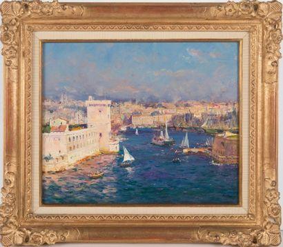 JEAN-BAPTISTE OLIVE (1848-1936) L'entrée du port de Marseille. Huile sur toile. Signée...