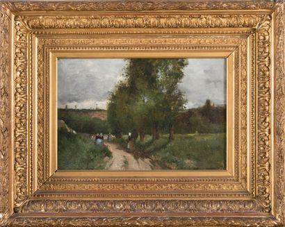 Alfred CASILE (1848-1909) Personnage sur le chemin. Huile sur toile. Signée en bas...