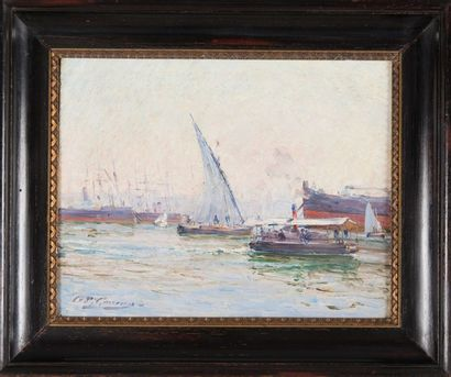 Adolphe Louis GAUSSEN (1871-1957) Le Port de Marseille et le ferry boat, 1901. Huile...