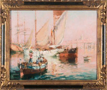 Gilbert GALLAND (1870-1956) Le Vieux Port de Marseille. Huile sur panneau. Signée...