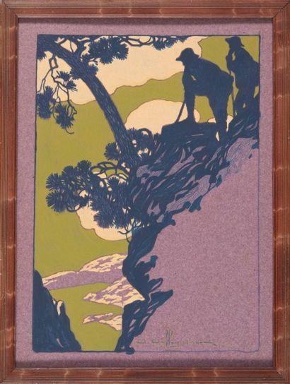David DELLEPIANE (1866-1932) Bergers. Aquarelle. Signée en bas à droite. 34 x 26...
