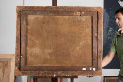 Ecole VÉNITIENNE du XVIIIème siècle Bergers dans un paysage. Toile. 75 x 95 cm