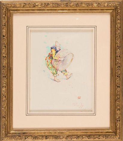 David DELLEPIANE (1866-1932) Le clown au tambour. Circa 1900. Aquarelle. Signée en...