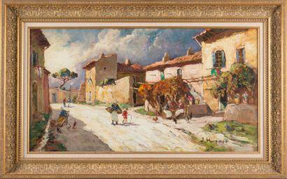 Joseph HURARD (1887-1956) La rue des peintres à Villeneuve les Avignon. Huile sur...