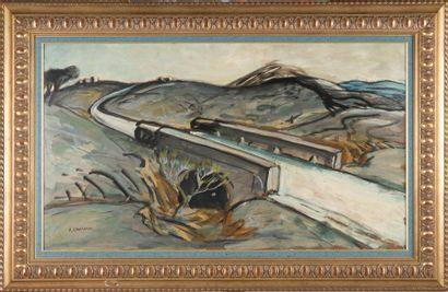 Auguste CHABAUD (1882-1955) La route blanche. Huile sur carton. Signée en bas à gauche....
