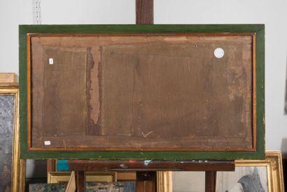 Eustache François DUVAL (Paris 1784 - 1836) Le passage du gué. Papier sur panneau...