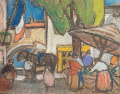 Louis Mathieu VERDILHAN (1875-1928) Scène de marché. Pastel. 37 x 47 cm