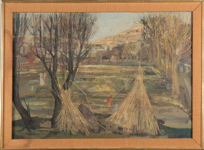 Louis TRABUC (1928) Paysage animé en Provence. 1955. Huile sur toile. Signée en bas...