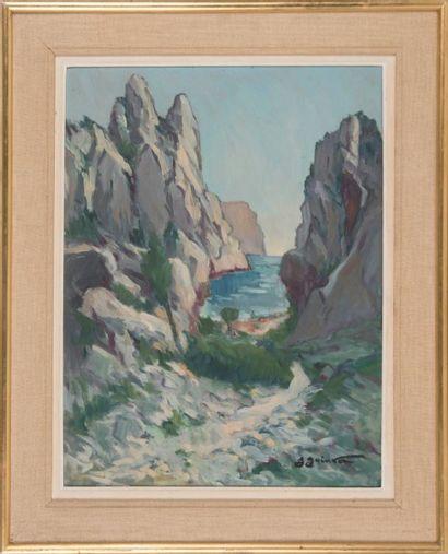 Jean GUINDON (1883-1976) La calanque de Cassis. Huile sur isorel. Signée en bas à...