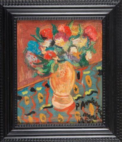 Pierre AMBROGIANI (1907-1985) Bouquet de fleurs. 1950. Huile sur toile. Signée et...