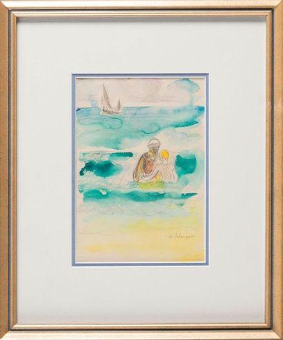 Henri Baptiste LEBASQUE (1865-1937) A la plage. Aquarelle. Signée en bas à droite....