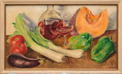 George de POGÉDAÏEFF (1897-1971) La nature morte au verre de vin. Huile sur panneau....