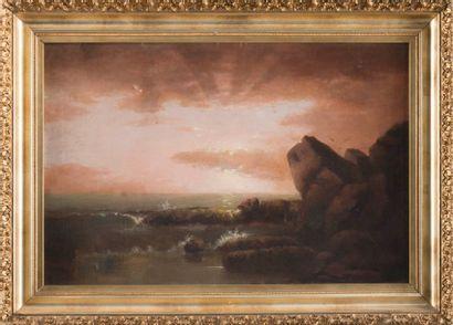 Alfred Thompson BRICHER (1837-1908) Coucher de soleil sur la mer. Huile sur toile....