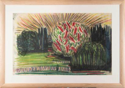 Gabriel LAURIN D'AIX (1901-1973) Printemps à Aix-en-Provence. Pastel. 63 x 99 cm