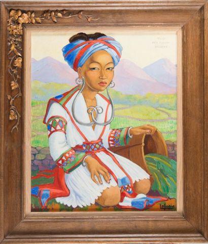 Léa LAFUGIE (1890-1972) Mi-Li, Meo fleuri. Huile sur toile. Signée en bas à droite....