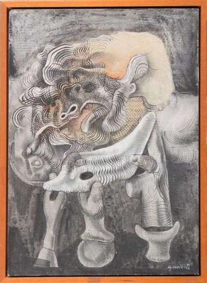 CARLO GUARIENTI (1923) Métamorphose. Huile sur toile. Signée et dédicacée. 61 x 41...