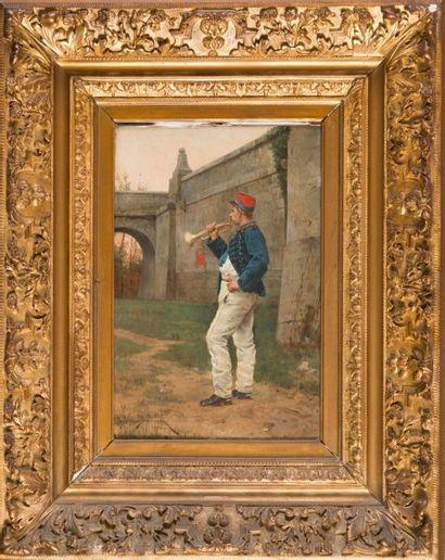 Etienne Prosper BERNE-BELLECOUR (1838-1910) Le trompettiste. 1864. Huile sur panneau....