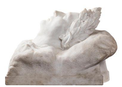 Entourage de LORENZO (BARTOLINI 1777-1850) Buste mortuaire de Napoléon lauré portant...