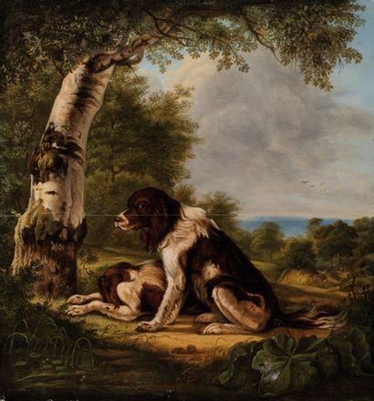 Camille ROQUEPLAN (Mallemort 1802-1855), attribué à Deux chiens dans un paysage  Huile...