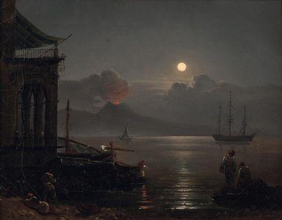 Attribué à Silvester SCHEDRIN (1791-1830) Pêcheurs dans la baie de Naples au coucher...