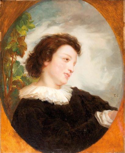 Ecole FRANÇAISE du XIXème siècle Le fauconnier  Sur sa toile d'origine  73 x 59,5...