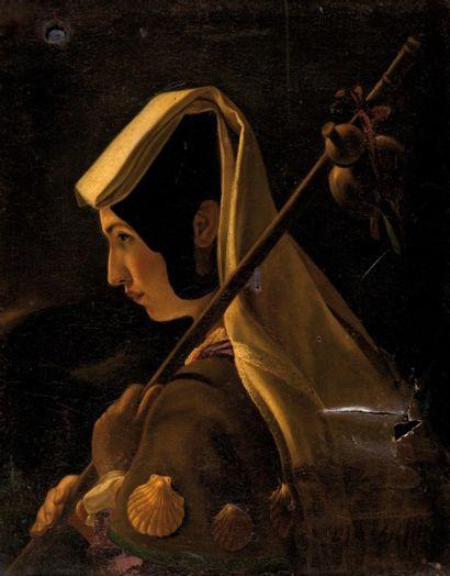 École FRANCAISE 1840 La pèlerine  Sur sa toile d'origine  73,5 x 60 cm.  Acciden...