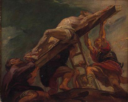 Ecole FRANCAISE vers 1840 L'érection de la Croix  Sur sa toile d'origine (Foinet)...