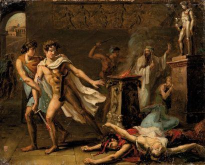 Ecole FRANÇAISE vers 1830 Scène de sacrifice  Sur sa toile et son châssis d'origines...