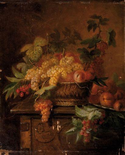 Jean Pierre LAYS (Saint-Bartélémy-Lestra 1825 - Lyon 1887) Corbeille de raisins...