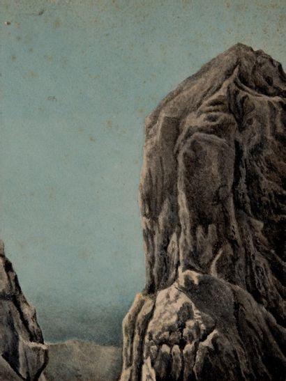 Franz SCHRADER (1844-1924) attribué à La cima della Madona, Dolomites  Aquarelle...