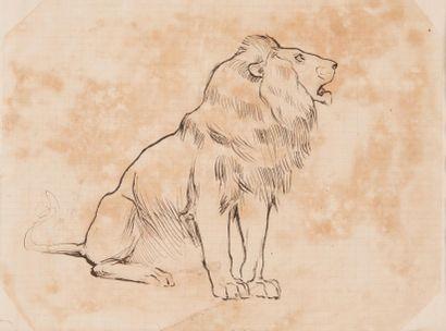 Armand-Alexis LARROQUE (né en1869) Collection de onze dessins animaliers, lions...