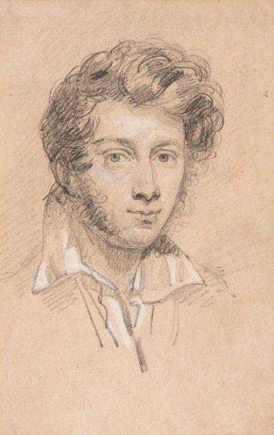 Emile SIGNOL (1804-1892) Portrait de jeune homme  Dessin au crayon et rehauts de...
