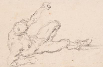 Ecole FRANÇAISE du XIXe siècle Etude d'homme au sol, le bras gauche levé  Dessin...
